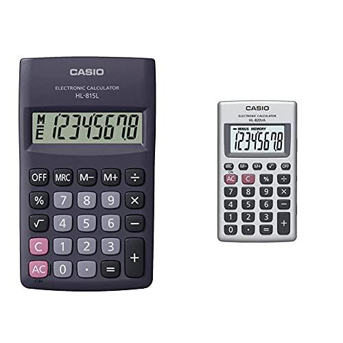 Casio Hl-815L Calcolatrice Tascabile Display A 8 Cifre, Con Radice Quadrata & Hl-820Va Calcolatrice Tascabile Display A 8 Cifre E Struttura In Metallo