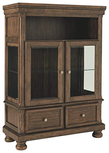 Signature Design By Ashley - Flynnter Curio Cabinet - 2 Drawer - Casual Style - Medium Brown