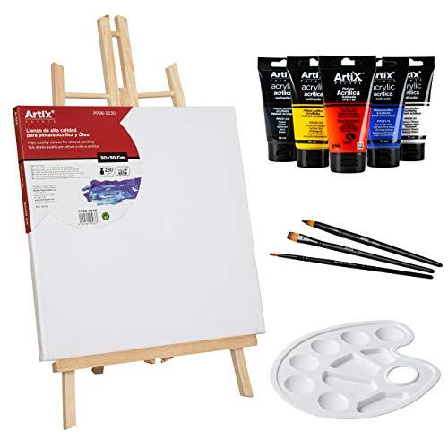 Kit Completo Lienzos para Pintar 30x30cm + Caballete + Set 5 Colores Pinturas Acrilicas + 3 Pinceles + Paleta - Artix PRO