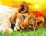 WLYUE Pintura al óleo con diseño de cachorro de león por números, imágenes...