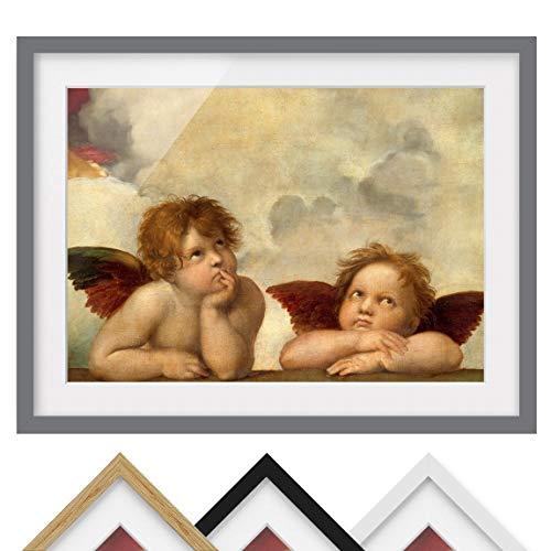 Bild mit Rahmen - Raffael - Zwei Engel - Rahmenfarbe Grau, 30 x 40 cm