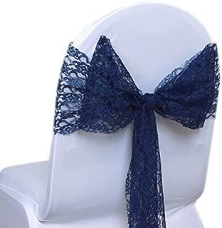 VDS - 75 PCS Elegant Lace Wedding Chair Sashes/Bows for Wedding Party Banquet Decor - Ribbon Tie Back lace Sash Bow - Navy Blue