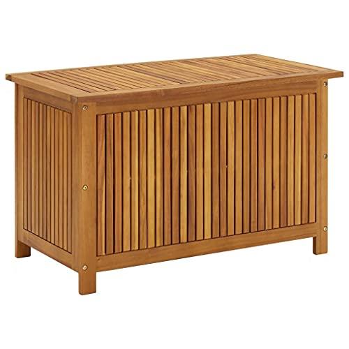 vidaXL Solid Acacia Wood Garden Storage Box Outdoor Indoor Chest Furniture Pillow Blanket Wooden Waterproof Box Home Entryway Hallway