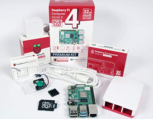 Melopero Raspberry Pi 4 Computer Official Full Kit with Official Fan System and Raspberry Pi SO (8GB RAM, White, EU PLUG)