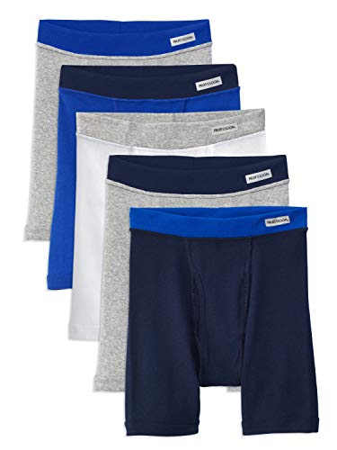 Fruit of the Loom Boys' Boxer Briefs (Assorted Colors), Traditional Fly - 5 Pack - Covered Waistband, Small