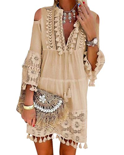 ORANDESIGNE Damen Kleider Strand Elegant Casual A-Linie Kleid Langarm Sommerkleider Boho V-Ausschnitt Quaste Tunika Mini Kleider B Khaki 48