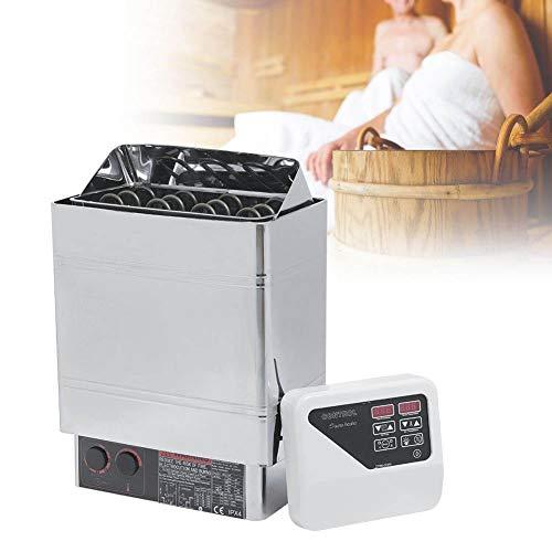 Rosvola Kit de generador de Ducha de Vapor de 9KW, Calentador de Estufa de Sauna eléctrica de Acero Inoxidable Interruptor de protección de Alta Temperatura Controlador CON4 Baño de SPA(EU / 220v)