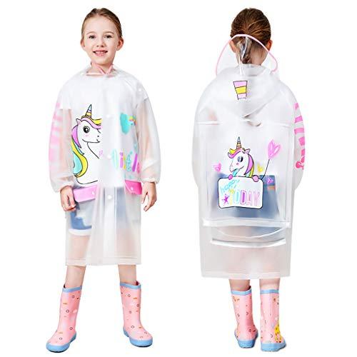 Vine Bambini Impermeabile Cappotto di Pioggia Bambine Incappucciato Mantella Antipioggia Ragazzi Ragazze Poncho Riutilizzabile Giacche da Pioggia