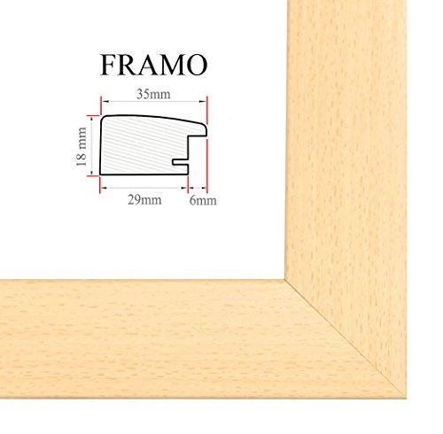 FRAMO 35mm Cadre Photo sur Mesure 40 x 63 cm (Hêtre), Cadre Fait Main en MDF doté d'Un Verre synthétique antireflet, Largeur du Cadre : 35 mm, Dimensions extérieures : 45,8 x 68,8 cm