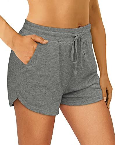 OFEEFAN Womens Shorts for Summer Elastic Waist Shorts for Women Grey XL