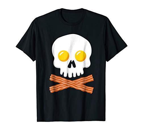 Breakfast Skull Shirt Egg and Bacon Skull Crossbones Tshirt