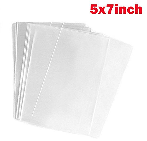 TUPWEL 100PCS 5x7inch (1.2mil) Clear Flat Cello/Cellophane Sealable Treat Bag PP Plastic Packing Bags for Gift Wrap Party Wedding Favors Bakery Cookies Candies Dessert Supplies