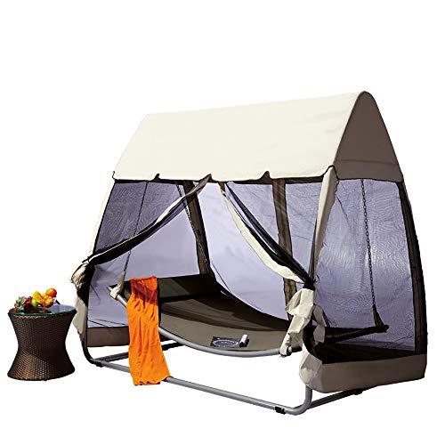 Garten Pool Schaukel Hängematte Zelt Swing Lounge Liege Hängematte schwingen 3-Sitzer Gartenschaukel All Weather 2 in 1 Schaukeln im Freien kann 300kg tragen Hängesessel mit abnehmbarem Baldachin
