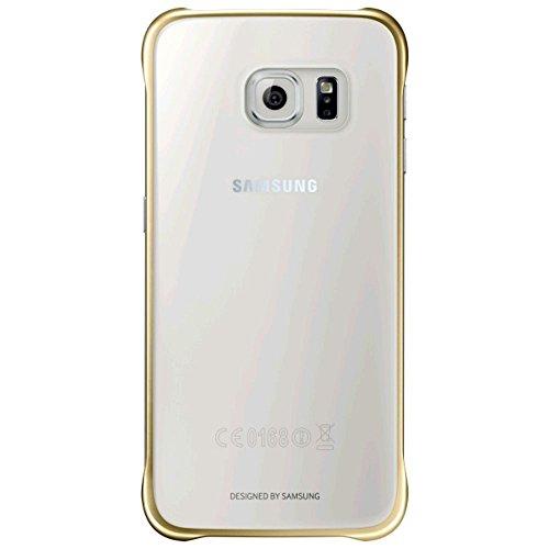 Samsung Slimline Clip-On Hülle Clear View Case Cover für Samsung Galaxy S6, Metallic gold/transparent