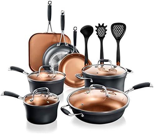 NutriChef Stackable Pots and Pans Set 14 pcs Luxurious Stackable Cookware Set Sauce Pans Nonstick product image
