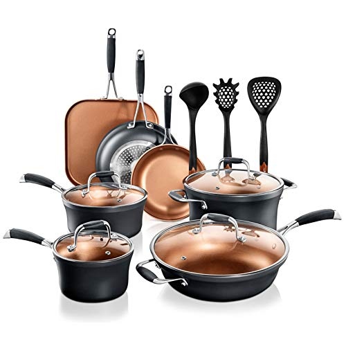 NutriChef Stackable Pots and Pans Set – 14pcs Luxurious Stackable Cookware Set – Sauce Pans Nonstick Set with Lids– Healthy FoodGrade Copper NonStick Ceramic Coating  PTFE PFOA and PFOS Free