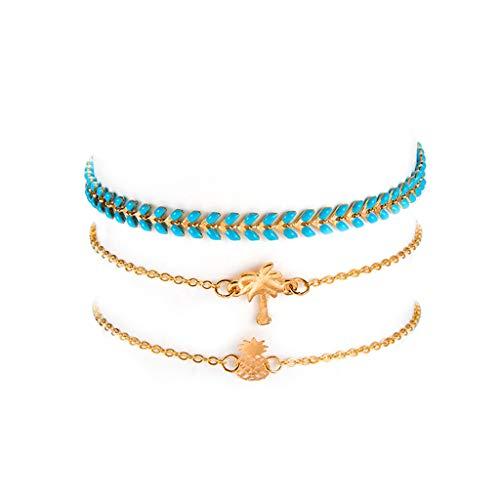 Mypace Silber Gold 925 Armreif Für Damen Herren Fashion Beach Wind Ananas Coconut Tree Blue Leaf Armband 3 Stück Schmuck