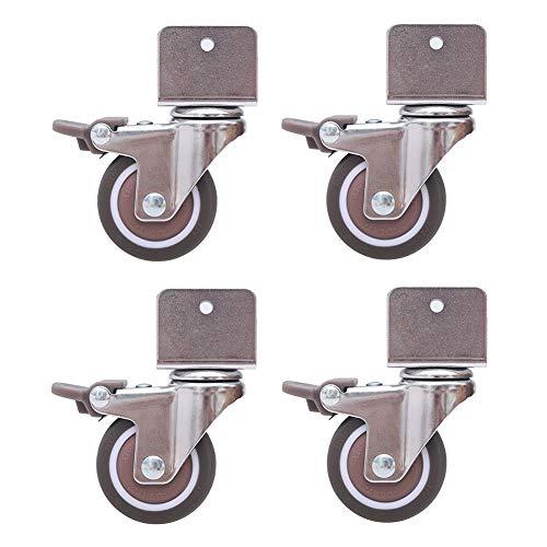 GINVF Ruedas giratorias silenciosas de 4'de 2' para cunas, con Soporte Tipo U, Rueda de Goma para Muebles de 50 mm con Frenos, rodamientos de Bolas, Capacidad 80 kg, con Tornillos (16-25 mm)