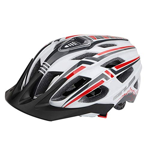 SM SunniMix MTB Road Bicicleta Casco de Bicicleta LED Ciclismo de Montaña Casco de Seguridad Deportivo para Adultos - Blanco