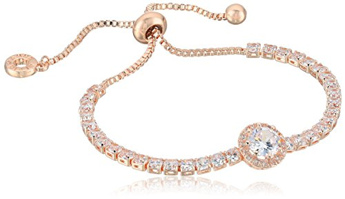 Anne Klein Classics Rose Gold Pave Center Stone Slider Bracelet, One Size