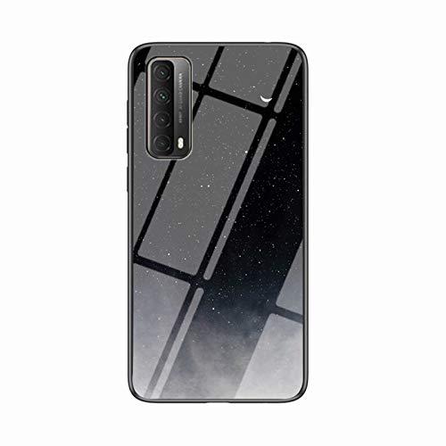 Miagon Glas Handyhülle für Huawei P Smart 2021,Himmel Serie 9H Panzerglas Rückseite mit Weicher Silikon Rahmen Kratzresistent Bumper Hülle für Huawei P Smart 2021,Schwarz