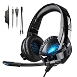 3D Stereo Gaming Headset Xbox One Headset with Noise Canceling Mic 7.1 Surround Bass LED Light Comfortable Memory Foam Over Ear Headphone Compatible with PC PS4 Xbox One Controller Mac Laptop