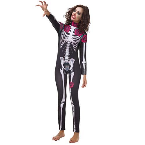LUOEM Mono Esqueleto Disfraz de Halloween con Estampado de Rosas Pantalones Siameses Mono de Una Pieza para Mujeres Adultas L