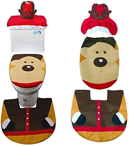 3 Juegos de Adornos navideños para la Cubierta del Asiento del Inodoro y la Tapa de la Bufanda Cubierta de la Alfombra Papá Noel Elk Elf Muñeco de Nieve Pajarita Verde Muñeco de Nieve Elk-Cada