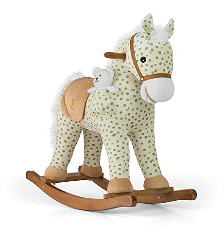 Caballo balancín de peluche Pony en 5 colores, Mecedora balancín de animal Balancín de juguete con efectos de sonido - Caballo balancín + peluche + oso Teddy blanco, Schaukelpferd Muster:Gray Dot