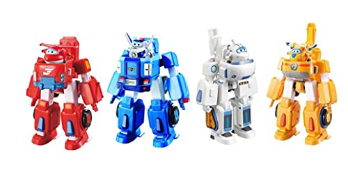 Super Wings - Transforming Vehicles 4 Pack - Jett, Donnie, Paul, and Astra | 2' Scale | Fun Preschool Toy for 3 4 5 Year Old Boys and Girls | Toy Plane Playset | Gifts for Birthday Kids