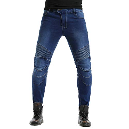 Zhiyuanan Uomo Donna Jeans Moto Impermeabile Biker Anti-Caduta Denim Pantaloni da Moto Protettivo Elastico Pantaloni Protettivi con 2 Protezioni Ginocchia e 2 Protettori Anca Blu 33W / 41L