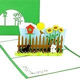 """3D Pop Up Karte """"My little Garden"""" - Geburtstagskarte & Grußkarte mit Hund, Katze und Vogelhaus..."""