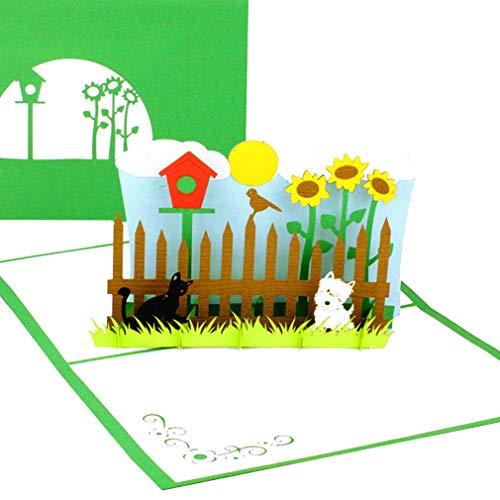 """3D Pop Up Karte """"My little Garden"""" - Geburtstagskarte & Grußkarte mit Hund, Katze und Vogelhaus – zum Geburtstag, Eigenheim & Hauskauf als Gutschein, Einladungskarte zum Gartenfest & Geschenkgutschein"""