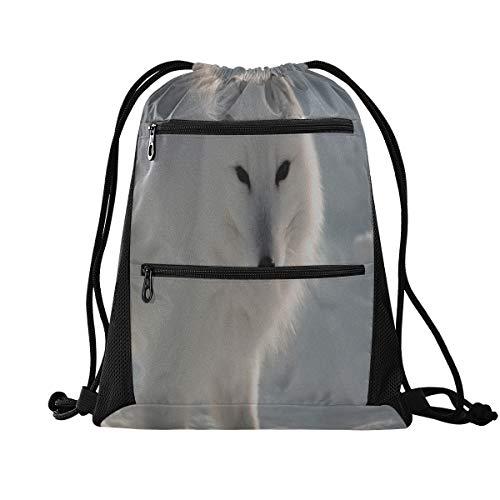 WDDHOME Kordelzug Rucksack Tierliebhaber Arctic Fox Sport Gym Tasche für Männer Kordelzug Gym Taschen für Frauen Leichtgewicht mit Reißverschluss Tasche Sport Athletic School Travel Gym Cinch Sack