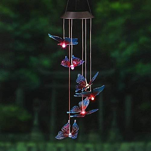 Solar Wind Chimes Lampe, Solarlampe Hummingbirds Libelle Schmetterling Flasche Wind Chimes Deko Licht Weg Pathway-Lampe for Außen Garten (Ball)