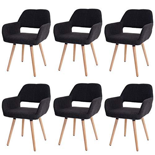 6X Chaise de Salle à Manger HWC-A50 II, Fauteuil, Design rétro des années 50 - Tissu, Gris foncé
