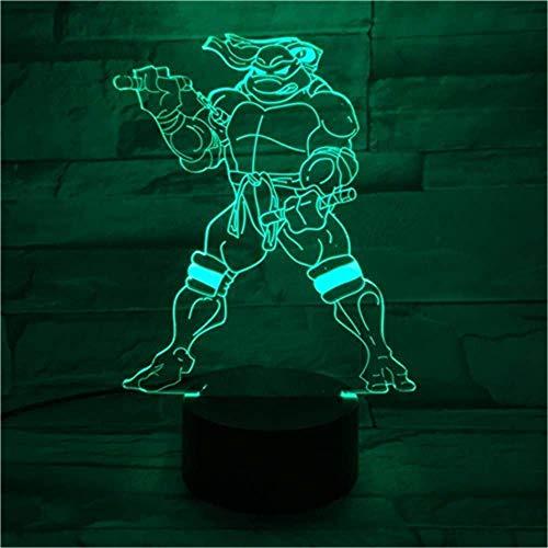 3D Illusion Led Night Light Nouveauté Lampe Steenage Mutant Ninja Led Cartoon Touch Sensor Enfants Enfants Lampe De Bureau Chevet Comics