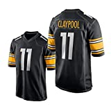 Claypool 11# Rugby Jersey, Camiseta Negra de los Hombres, Camiseta de los fanáticos de poliéster, Camisa de Bordado de la Sudadera Tendencia de la Ropa All-Match, S Black-XXL