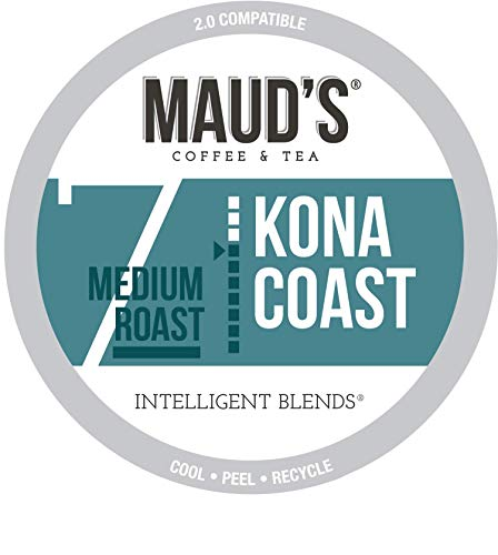 Maud's Kona Coffee Blend (Kona Coast), 100ct. Recyclable Single Serve Coffee Pods – Richly satisfying arabica beans California Roasted, k-cup compatible including 2.0