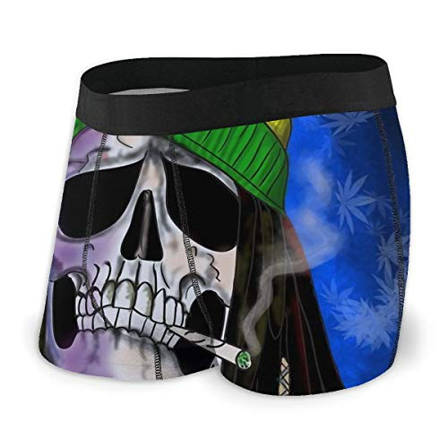LAOLUCKY Herren Boxershorts Cannabis Weed Leaves Marihuana Rasta Skull Allover-Print Unterwäsche Atmungsaktiv Stretch Trunk Gr. L, Schwarz