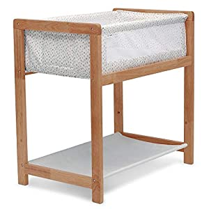 Delta Children Classic Wood Bedside Bassinet Sleeper – Portable Crib with High-End Wood Frame, Paint Dabs