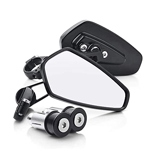 1 par motocicleta aluminio 7/8'22mm extremo de barra espejo retrovisor lateral Universal moto bicicleta manillar espejos retrovisores