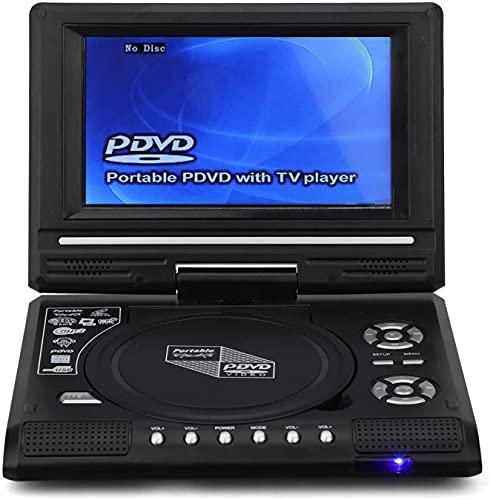 Reproductor de DVD portátil, Reproductor multimedia de 7.8 'Reproductor de DVD para automóvil Soporte USB / Tarjeta SD / Sincronización de TV Formatos de múltiples discos Reproductor de DVD para niños