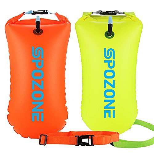 SPOZONE 2 Pacchi Boa Nuoto 20L Impermeabile Boa Gonfiabile, Galleggiante di Sicurezza per Sport Acquatici, Nuotatori in Acqua Aperta, Triatleti, Kayaker e Snorkeling (Orange & Yellow)