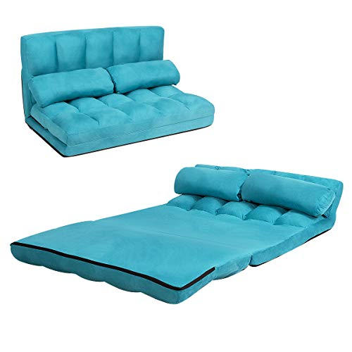 COSTWAY Double Folding Sofa Bed, 6-Position Adjustable Lounger Sleeper Seat Chair with 2 Pillows, Home Office Living Room Bedroom Floor Lazy Sofa Bed (Blue)