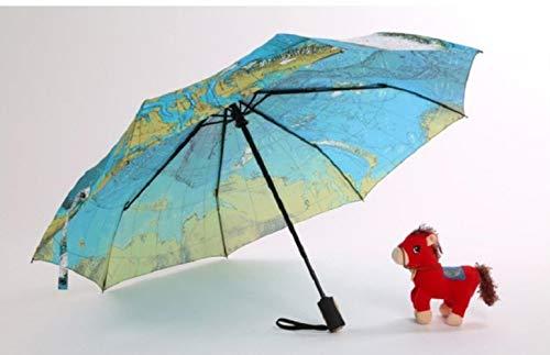 HLSX Regenschirm, dreifach faltbar, Globus-Muster, für Damen, Reisen, Sonnenschirm, winddicht, automatischer Business-Regenschirm siehe abbildung