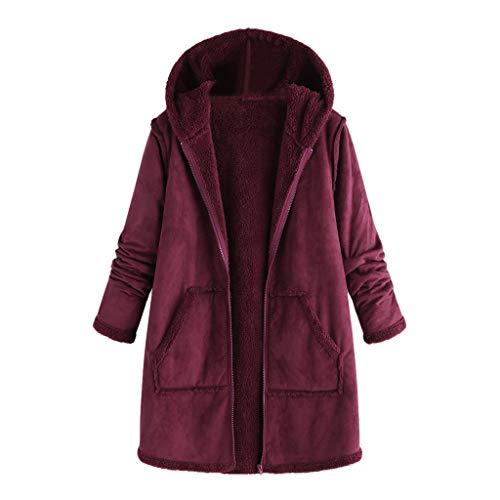 Lazzboy Tasche Winter Kapuze Langarm Mantel Tops Damen Große Größe Mode Pullover Kapuzenpullover Winterjacke Cord Warm Hoodie Revers Jacke Outwear Lange(Wein,3XL)