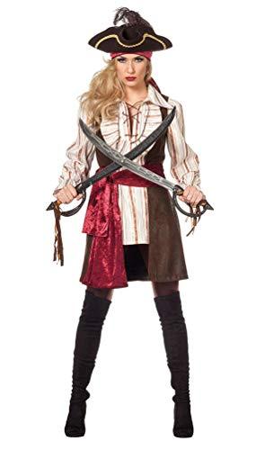 Karneval-Klamotten Piratenkapitän Kostüm mit Piratenweste Damen