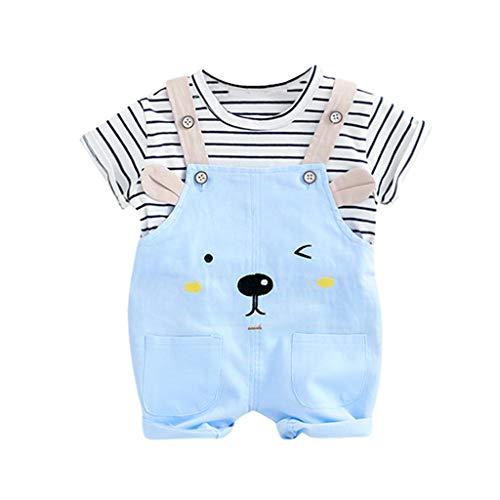 Jimmackey Ragazzi Bambino Bambine Unisex Striscia Camicia Cime Manica Corta +Tee Bear Bretelle Pantaloni 2pcs Abiti Set