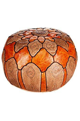 Orientalischer runder Pouf aus Leder ø 60cm Rund 35cm Hoch inklusive Füllung | Marokkanisches Sitzkissen Sitzpouf Kissen Hakam Orange | Marokkanischer Hocker Sitzhocker Fusshocker
